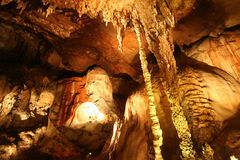 Stalactites in cave. Stalactites in Khamin cave, Tai Rom Yen national park. Surat Thani Province, southern Thailand royalty free stock photos