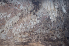 Stalactites in a cave at maehongson,thailand Royalty Free Stock Photo