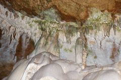 Stalactites in a cave Marble. Stalactites in a cave. Crimea, mountain Chatyr-Dag, a marble cave Royalty Free Stock Images