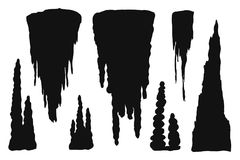 Stalactites cave silhouette. stone blocks growths vector isolated set Stock Photography