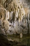 Stalactites in the cave. Stalactites and stalagmites in the cave royalty free stock photos