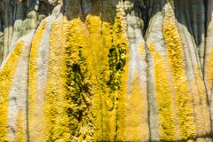 Stalactites in The Cave. Stone columns, stalactites and stalagmites in a cave stock images
