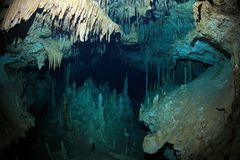 Stalactites of cenote underwater cave Royalty Free Stock Photo