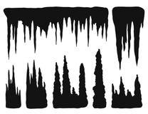 Stalactites, croissances et formations minérales Silhouette i de vecteur illustration de vecteur