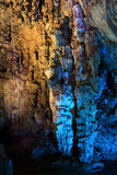 Stalactites forming in silver cave Stock Images
