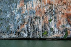 The stalactites in the sea. N Royalty Free Stock Photo