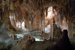 Stalactites and stalagmites. A natural cave with stalactites and stalagmites stock images
