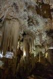 A shot inside the Cuevas del Aguila stalactite cave in Avila, Spain stock photography