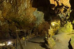 Stalactites and stalagmites in Dirou Cave, Greece. Impressive formations of the stalactites and stalagmites in Dirou Cave. Greek destination .Natural beauty stock image
