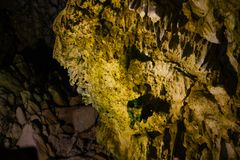 Stalactites and stalagmites in Dirou Cave, Greece stock images