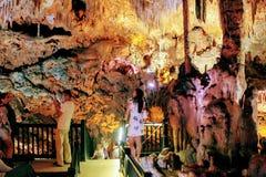Stalactites and stalagmites inside Damlatas Cave Alanya, Turkey.  stock photography