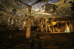 Postojna cave, Slovenia. Formations inside cave with stalactites and stalagmites. Royalty Free Stock Image