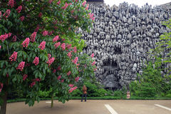 Stalactites sur un mur au jardin de Wallenstein photo stock