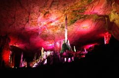 Stalactites in underground caves. In China royalty free stock photos