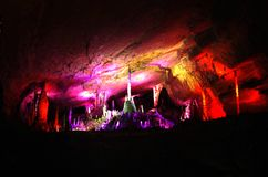 Stalactites in underground caves. In China stock photo