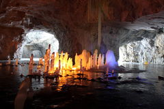 Stalagmite in marble cave, Russia Stock Images