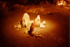 Stalagmites. Rock formations in caverns Royalty Free Stock Images