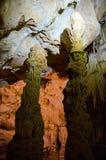Stalagmites. Cave Emine Bair Khosar in Crimea. Stalagmites. Karst cave Emine Bair Khosar in Crimea. Massif Chatyrdag-Yayla. Vicinity of Alushta. Near the stock photos
