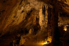 Stalagmites in grotto Stock Images