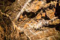 Stalaktit i grotta Arkivbilder