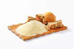 Stale bread and finely ground breadcrumbs Stock Photos