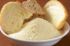 Stale bread and finely ground breadcrumbs Royalty Free Stock Photo