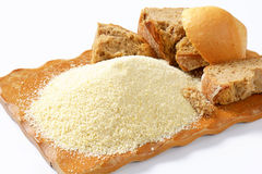 Stale bread and finely ground breadcrumbs Royalty Free Stock Photos