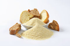 Stale bread and finely ground breadcrumbs Royalty Free Stock Image