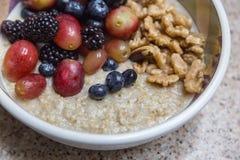 Stali cięcie gotował oatmeal z dokrętkami i owoc Zdjęcie Stock