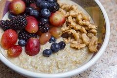 Stali cięcie gotował oatmeal z dokrętkami i owoc Obrazy Royalty Free
