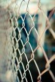 Stali sieci ogrodzenie z plamy tłem Zdjęcia Royalty Free