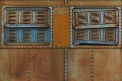 Stali Taborowy okno fotografia stock