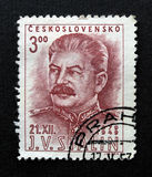 Stalin on Czechoslovakia stamp. Stalin on a stamp of the Czechoslovakia, dating 1949, with postage meter from Prague Royalty Free Stock Photography