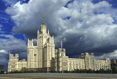 Stalin high-rise building. Moscow, Russia. High-rise Stalin residential building on Kotelnicheskaya embankment in the background of storm clouds. Moscow, Russia Royalty Free Stock Photography