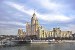 Stalin high-rise house in Moscow Royalty Free Stock Images