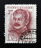Stalin op de zegel van Tsjecho-Slowakije Royalty-vrije Stock Fotografie