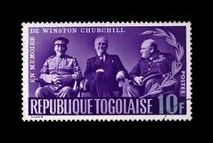 Stalin, Roosevelt y Churchill en la conferencia de Yalta durante la Segunda Guerra Mundial, circa 1965, fotos de archivo libres de regalías