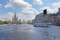 Stalin sky-scraper view from river. Moscow Stock Photography