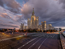 Stalin Skyscraper on Kotelnicheskaya Embankment in Moscow Royalty Free Stock Images