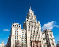 Stalin skyscraper on square of the Red Gate in Moscow, Russia Stock Images