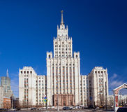 Stalin skyscraper on square of the Red Gate in Moscow Stock Images