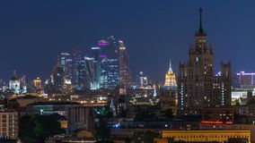 Stalin skyskrapers night timelapse, Moscow International Business Center and panoramic view of Moscow. Stalin skyskrapers night timelapse, Moscow International stock footage
