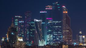 Stalin skyskrapers night timelapse, Moscow International Business Center and panoramic view of Moscow. Stalin skyskrapers night timelapse, Moscow International stock video