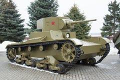 stalingrad Rusia - 19 de febrero de 2017 El tanque ligero soviético T-26 Foto de archivo libre de regalías
