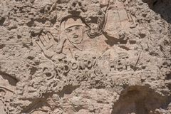 stalingrad Rusia - 3 de junio de 2017 El pared-alivio del monumento con la inscripción Imágenes de archivo libres de regalías