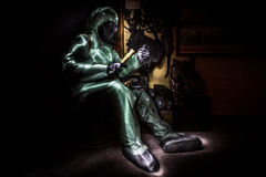 Stalker. In chemical protection suite Royalty Free Stock Photos