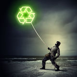 Stalker in gas mask Royalty Free Stock Images