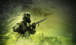 Stalker with gun Royalty Free Stock Images