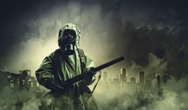 Stalker with gun Royalty Free Stock Photography