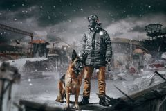 Stalker in mask and dog against ruined buildings. Stalker soldier in gas mask and dog against ruined buildings, radioactive zone, post apocalyptic world. Post Stock Photography